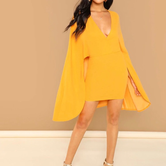 amourOC Dresses & Skirts - Caped BodyCon Dress🧡SOLD🧡